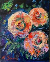 Flowers Still Life Oil Painting Impressionism Texture Modern Impasto Collectable