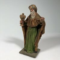 """Vintage Paper Mache Figurine Nativity King 8.5"""" Tall Made In Italy Hand Made"""