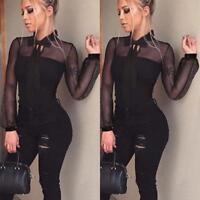 Women Transparent Shirt Bodycon Long Sleeve Jumpsuit Leotard Tops Blouse T-Shirt