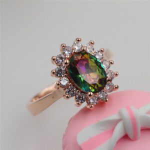 New Fashion Colorful Crystal Inlaid Ring Rose Gold Women Charm Jewelry Sale #25