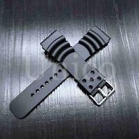 20 22 24 MM Black Silicone Rubber Watch Band Strap Fits Hamilton Diver Black