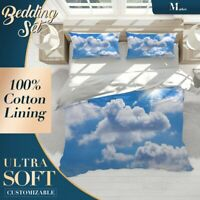 Sun Clouds Nature Sky Blue Duvet Cover Set with Zipper And Pillowcase