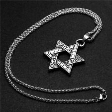 "Unisex Stainless Steel Star of David Pendant Necklace With 3mm 24""Chain For Men"
