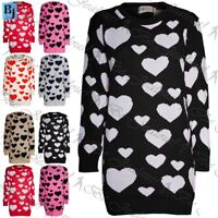 Womens Love Hearts Prints sweater Ladies Knit Pullover Baggy Long Jumper Dress