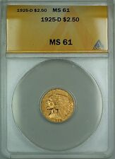 1925-D $2.50 Indian Quarter Eagle Gold Coin ANACS MS-61