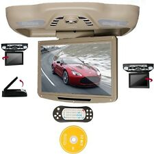 """Gray 12.1"""" LCD Car Roof Mount Monitor DVD Player TV IR FM SD USB Games Speakers"""