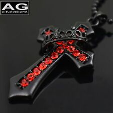 "Black cross ring red cubic with 23"" ball chain necklace US SELLER"