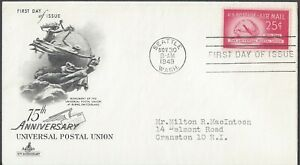 1949 AIR MAIL FIRST DAY COVER - 25c UNIVERSAL POSTAL UNION - ART CRAFT CACHET!