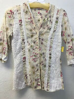 NWT Johnny Was Women Floral Print 3/4 Sleeve Button Down Shirt S Blouse Cotton