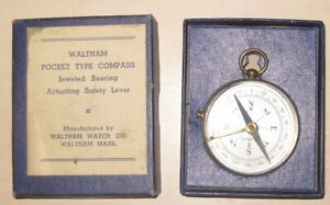 Circa 1880, Waltham Pocket Compass, brass case,  in original manufactures box