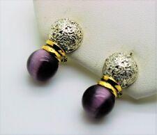 A199 Cute Unique design Omega Latch  ball Shape Purple cat eye fashion earring