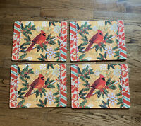 Set Of 4 Holiday Christmas Cardinal Bird Holly Snowflakes Placemats Cork Backing