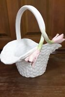 White Ceramic Basket w/ Pink Flowers  from Portugal Spring Bowl Planter
