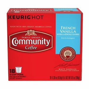 Community Coffee French Vanilla Coffee 18 to 144 Keurig K cups Pick Any Size
