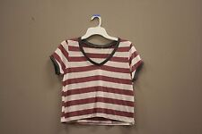 STRIPED WHITE - MAROON CROP TOP T- SHIRT..XTREME..SIZE: ADULTS LADIES LARGE