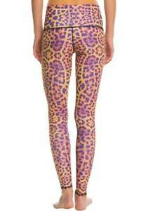 Teeki Women's Yoga Leggings Purple Awakening Pilates Fitness Cheetah Print USA