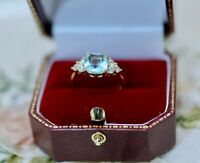 Vintage Jewellery Gold Ring Aquamarine White Sapphires Antique Deco Jewelry P