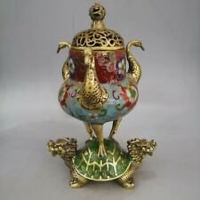 Engaging Old Chinese Cloisonné Copper red-crowned crane Fumigating furnace