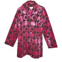 3 Sisters Womens Swing Coat Pink Brown Circles Long Sleeve Rhinestone Buttons M