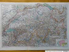 Landkarte Schweiz, Zürich, Bern, Luzern, 1907, M6