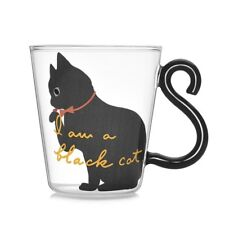 Cute Creative Cat Kitty Glass Mug Cup Tea Cup Milk Coffee Cup Words Home Office