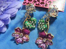 Flowers Rhinestone Earrings New A#2 Betsey Johnson Purple Enamel Pansy