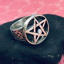 tree pentacle - sterling silver- T14 / anillo pentaculo talla 14 plata de ley