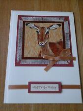 Antelope Birthday card, handmade, fabric, antelope, african wildlife,