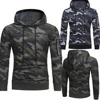 Men Camo Hoodie Sweatshirt Winter Hooded Long Sleeve Casual Outwear Sweater Tops