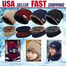 For Men Women Kid Winter Knit Baggy Wool Fleece Hat Beanie Scarf Neck Warmer Set