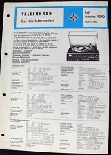 Telefunken hifi center 4040-Stromlaufplan Service Manual Ersatzliste Techn.Daten