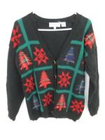 Baxter & Wells Christmas Cardigan Sweater Women's Petites Size PM Black