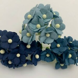 "1/2""-1.5cm Mixed 3 Cottage Paper flower Wedding Scrapbook Craft (3BlueA1-S10)"