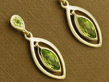 E094- Genuine 9ct Solid Yellow Gold Natural Peridot Dangling Stud Earrings Drop