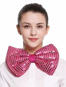 XXL Bow Tie Bowtie Binder Huge Pink Sequin Clown Circus Carnival Show