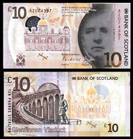 Scotland 10 Pounds p-131 2016 Bank of Scotland Polymer Banknote