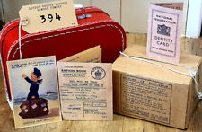 More details for 1940s/ww2 kids history dress up set-suitcase-gas mask box-ration book-id etc