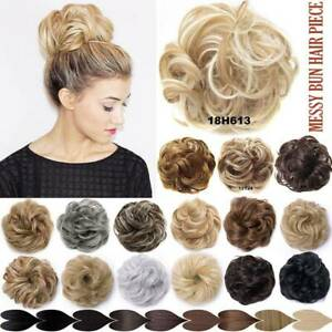 LARGE TOP Curly Messy Bun Hair Piece Scrunchie Thick Hair Updo Extension REAL FO