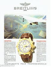 PUBLICITE ADVERTISING 026  1997  Breitling  montre Crosswind chrono mécanique