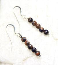Gold Stone 4mm Ball Gemstone Earrings 925 Sterling Silver Hooks Tiny Orange