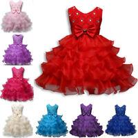 Girl Princess Dress Baby Kid Party Wedding Knee-Length Tutu Dress Cupcake Dress