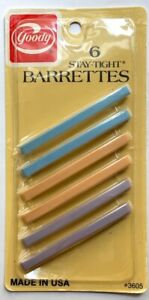 """Goody Vintage 3"""" inch NOS NIB NEW Stay-Tight Clasp 6 Barrettes USA 1982 PASTELS"""