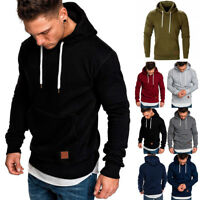 Mens Winter Hoodies Slim Fit Hooded Sweatshirt Outwear Sweater Warm Coat Jacket