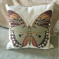 "NWT Beautiful Large  Needlepoint Butterfly Pillow 19"" x 19"" - Great Quality!"