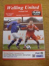 29/03/2013 Welling United v Chelmsford City  (folded, team changes). Unless prev