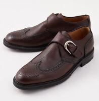 NIB $695 DI MELLA NAPOLI Brown Grained Leather Monk Strap Shoes US 9.5 (Eu 42.5)