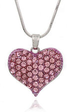 Gift for Girls Pink Heart Pendant Necklace Valentine's Day Birthday GIFT BOX