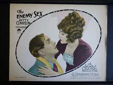 1924 THE ENEMY SEX - SILENT EXPLOITATION - RARE VINTAGE LOBBY CARD IN VG++ COND.