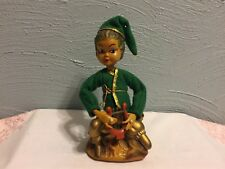 Vintage Tiilso Hong Kong Golden Fantasy Pixie Elf Figure Playing Lyre