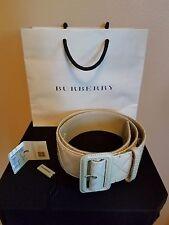 BURBERRY Ivory Patent Leather Belt, 34